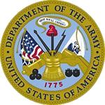 US Department of the Army Seal signifying M203grips are on M203 grenade luanchers in Army units worldwide.
