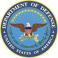 US Department of Defense Seal signifying M203grips are on M203 grenade luanchers in each of the Armed Forces.