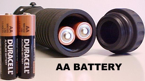 Photo showing two AA batteries inside the M203grip Battery Handle.