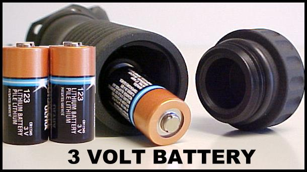 Photo showing two 3-volt batteries positioned in the Battery handle for either the grenade launcher or rifle foregrips.