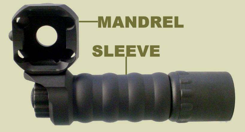 RM Equipment's Tactical Light module is pictured Part Number 71G600. This accessory provides a flashlight for the rifle rail foregrip or M203 grenade launcher.