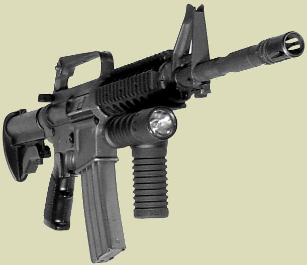 M4 carbine accessorized with  the Rail Grip with the Tactical Handle and Light.