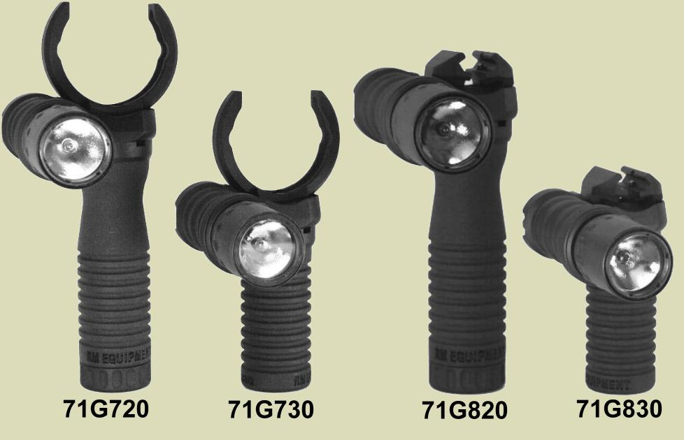 M203grip and RM Rail Grip models that have the Tactical Light Module already attached.
